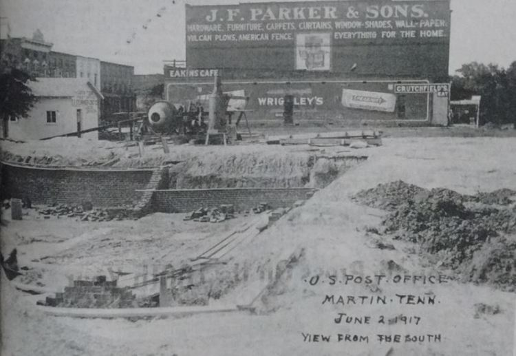 Martin Post Office 1917 being built during WWI or the Great War